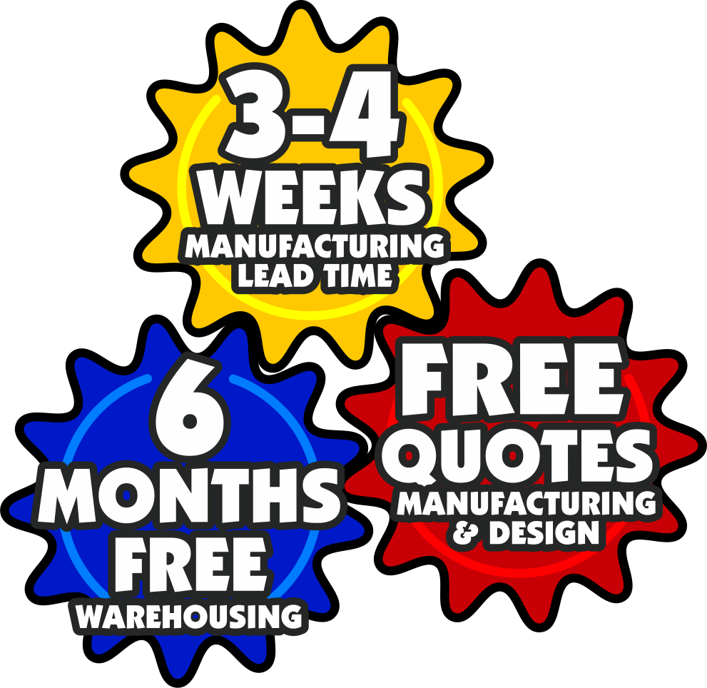 3-4 Weeks Lead Time for Game Manufacturing, 6 Months Free Game Warehousing, Free Quotes for Manufacturing & Design Services